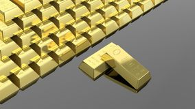 Big stack of gold bars Stock Photo