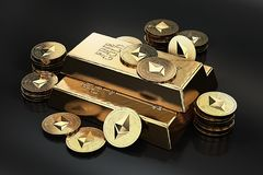 Big stack of golden Ethereum coins and gold bar gold ingot. Ethereum as a future gold. Most precious commodity in the world. 3D rendering Vector Illustration