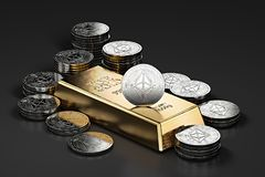 Big stack of golden Ethereum coins and gold bar gold ingot. Ethereum as a future gold. Most precious commodity in the world. 3D rendering Stock Illustration
