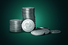 Big stack of IOTA coins on gently lit green background. IOTA coin growth concept. New virtual money, 3D render royalty free illustration