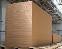 Big stack of MDF boards. Medium Density Fibreboard.  royalty free stock image