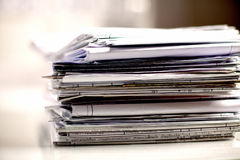 Big stack of papers ,documents on the desk Royalty Free Stock Image