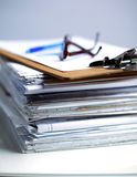 Big stack of papers ,documents on the desk Royalty Free Stock Photo
