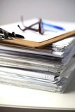 Big stack of papers ,documents on the desk Stock Photography
