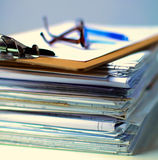 Big stack of papers ,documents on the desk Royalty Free Stock Photos