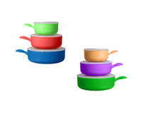 Big stack with pots and pans Royalty Free Stock Photography