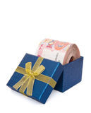 Big stack of RMB in a blue present box Royalty Free Stock Images