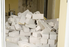 Big stack of white building bricks Stock Image