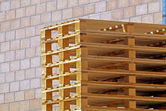 Big stack of wooden pallets for logistic Stock Images