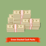 Big stacked cash pile. Hundreds of dollars. Big stacked pile of cash. Hundreds of dollars. Flat style isometric vector illustration Stock Images