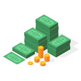 Big stacked dollar pile of cash. And gold coins. Money in isometric style. Business and finance concept. Vector illustration isolated on a white background Royalty Free Stock Photo
