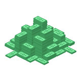 Big stacked dollar pile. Hundreds of dollars in flat style isometric illustration. Money cash, Business and finance concept. Vector EPS 10 Royalty Free Illustration