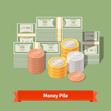 Big stacked pile of cash. Dollars and some coins. Big stacked pile of cash. Hundreds of dollars and some coins. Money talks concept. Flat style vector Royalty Free Stock Image