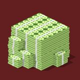 Big stacked pile of cash. Hundreds of dollars in flat style isometric.. Huge stacked pile of hundred us dollar cash. Big money concept. Vector illustration Stock Photo
