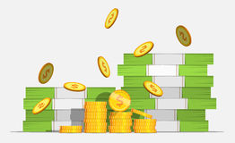 Big stacked pile of cash money and some gold coins. Coin Falls. Flat style cash money illustration. stock photos