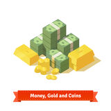Big stacked pile of cash. Some gold bars and coins Stock Image