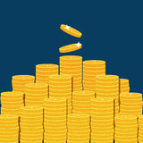 Big stacked pile of flat vector coins Stock Image