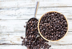Big stainless steel scoop of coffee beans Stock Photography