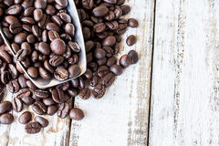 Big stainless steel scoop of coffee beans Stock Photos