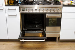 Big stainless steel stove Stock Photo