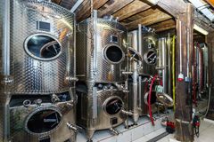 Big stainless steel tanks for wine producing Royalty Free Stock Images