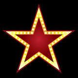 Big Star. Symbol of big red star on black background Stock Photos