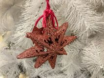 Big Stars on Christmas Tree in Christmas Days.  royalty free stock image