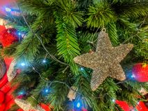 Big Stars on Christmas Tree in Christmas Days.  royalty free stock photography