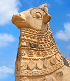 Big statue of Nandi Bull in front of Hindu Temple Royalty Free Stock Photos
