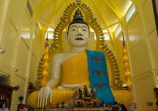 Big statue os Buddha in Singapore temple. Large sitting, calm Buddha sculpture Royalty Free Stock Image