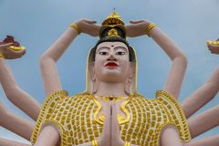 Big Statue of Shiva many hands in Wat Plai Laem Temple on Koh Samui island in Thailand stock photography