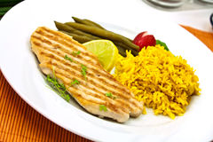 Big steak of pork,grilled,with curry rice stock images