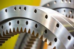Big steel gear. Shot close-up photo Metallic Stock Photography