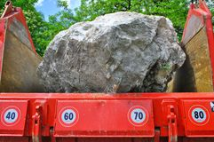 Big stone. On a large truck ready for transport in the quarry for processing royalty free stock photos