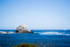 Big stone in the beach. Wide view of a beach in Algarrobo Chile Stock Photos