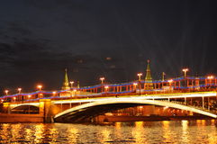 Big Stone Bridge, Grand Kremlin Palace in night of Royalty Free Stock Images