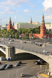 Big Stone Bridge, Grand Kremlin Palace, Towers of Kremlin Stock Images
