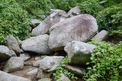 Big stone in chan ta then waterfall at Bang Phra, Sriracha, Chonburi, Thailand. Close up big stone in chan ta then waterfall at Bang Phra, Sriracha, Chonburi stock image