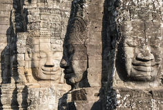 Big stone faces. In Angkor wat in Cambodia Royalty Free Stock Images