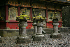 Big stone lanterns. Nikko, Japan - UNESCO World Heritage Site. Part of Tosho-gu Shinto shrine, traditional stone lanterns Royalty Free Stock Photos