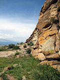 Big stone, mountains. Buddhist central, Big stone, blue sky,nature, mountains Stock Images