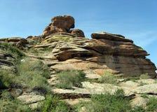 Big stone, mountains. Buddhist central, Big stone, blue sky,nature, mountains Stock Photo