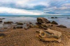 Big stone on seashore Royalty Free Stock Photo