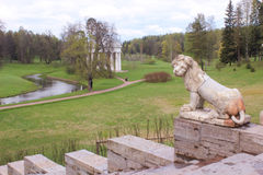 Big Stone Staircase in Pavlovsk park Royalty Free Stock Photos