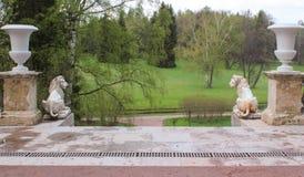 Big Stone Staircase in Pavlovsk park Stock Photo