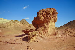 Big stone in Timna Park, Negev desert, Israel. Royalty Free Stock Photos