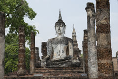 Big stone tone Buddha at Archaeological Park Buddhist temples of Sukhothai, Thailand Royalty Free Stock Photos