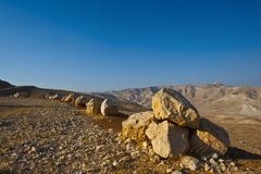 Big Stones. In Sand Hills of Samaria, Israel Royalty Free Stock Images