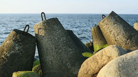 Big stones at Baltic sea stock video footage