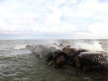 Big stones in Curonian spit windy day, Lithuania stock photos